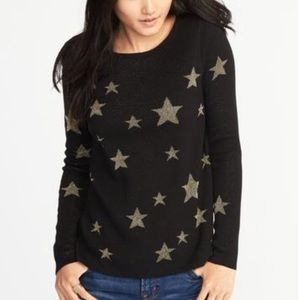 Old Navy Black & Gold Star Sweater Small